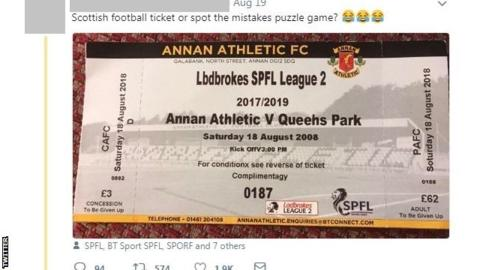 'Kick-off is in 2008, entry is £62' - the Annan match ticket filled with mistakes