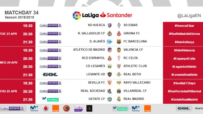 Kick-off times (CET)  for Matchday 34 in LaLiga Santander 2018/19