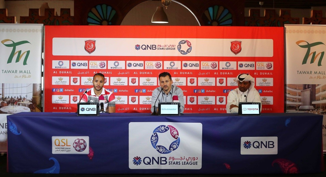 Al Duhail coach Rui Faria and striker Yousef El Arabi speak to the media ahead of their big match against Al Sadd at the Tawar Mall