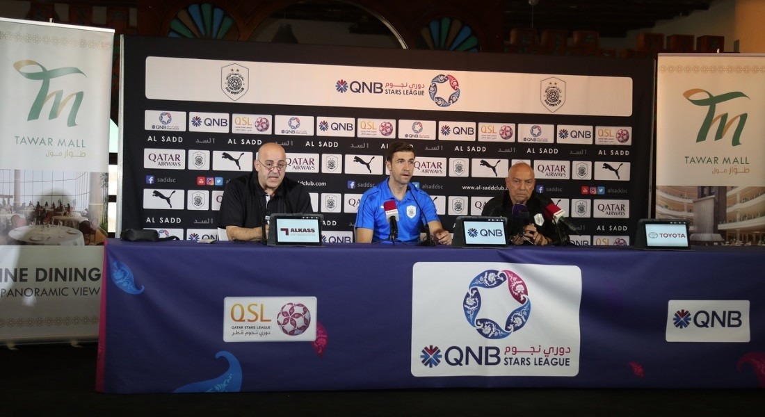 Al Sadd coach Jesualdo Ferreira and player Gabi Fernandez speak to the media ahead of their big match against Al Duhail at the Tawar Mall