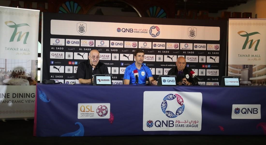 Al Sadd coach Jesualdo Ferreira and player Gabi Fernandez speak to the media ahead of their big match against Al Duhail at the Tawar Mall