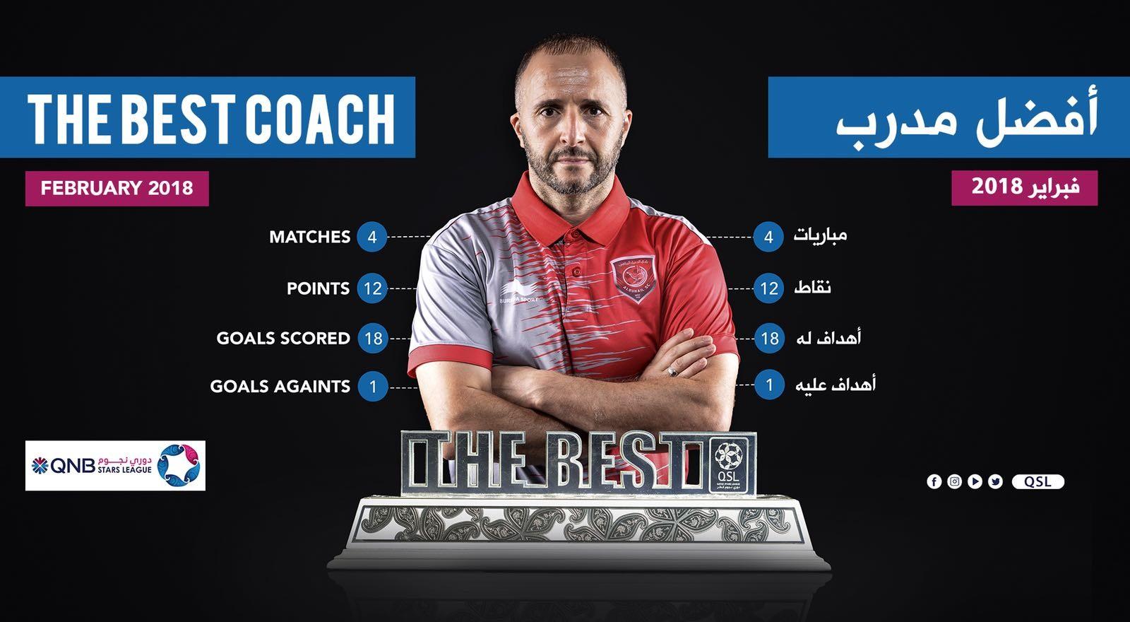QNB Stars League — February, 2018 — Djamel Belmadi (Al Duhail)