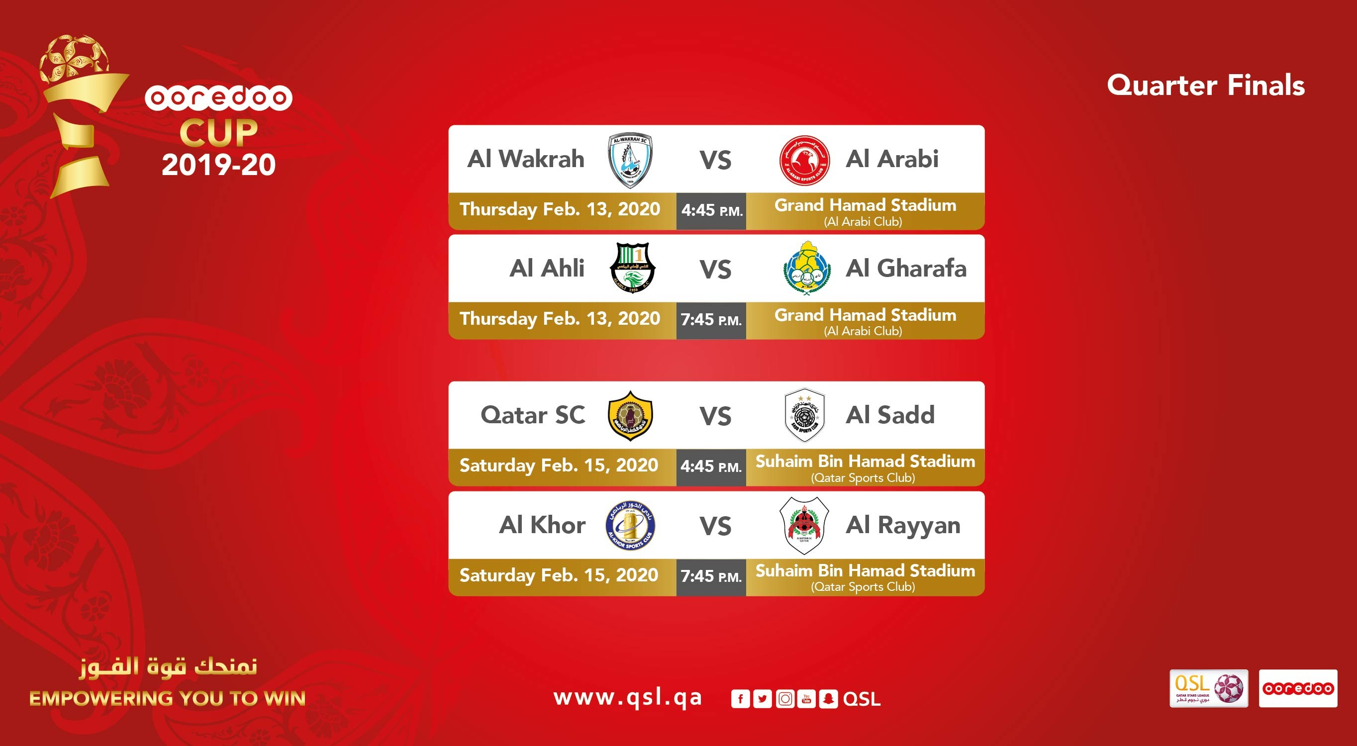 Stage set for Ooredoo Cup quarterfinals