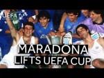 DIEGO MARADONA lifts '89 UEFA Cup